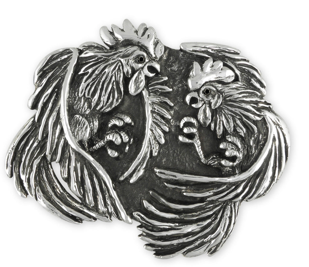 Fighting Rooster Charms Fighting Rooster Belt Buckle Handmade Sterling Silver Mens Jewelry Fighting rooster jewelry