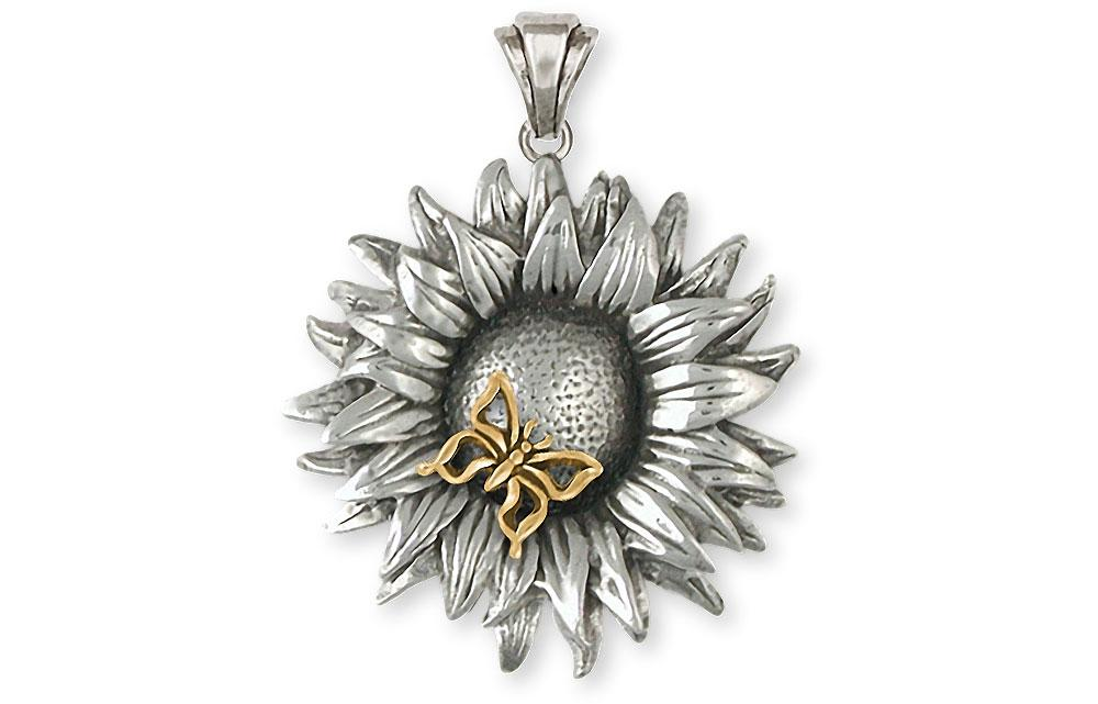 Sunflower Charms Sunflower Pendant Silver And 14k Gold Flower Jewelry Sunflower jewelry