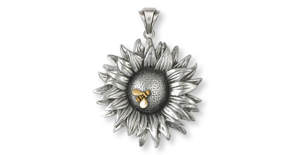 Sunflower flower pendant silver and gold esquivel and fees sunflower charms sunflower pendant silver and gold flower jewelry sunflower jewelry aloadofball Gallery