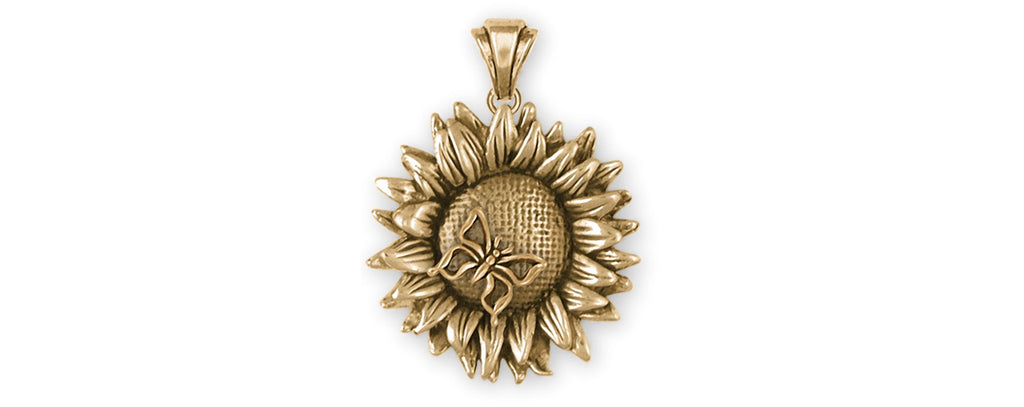 Sunflower Charms Sunflower Pendant 14k Gold Sunflower Jewelry Sunflower jewelry