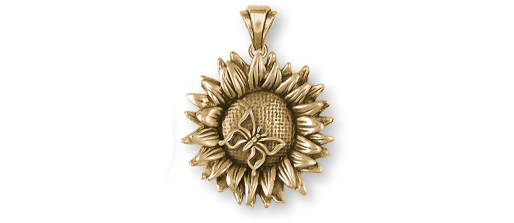 Sunflower Charms Sunflower Pendant 14k Gold Vermeil Sunflower With Butterfly Jewelry Sunflower jewelry