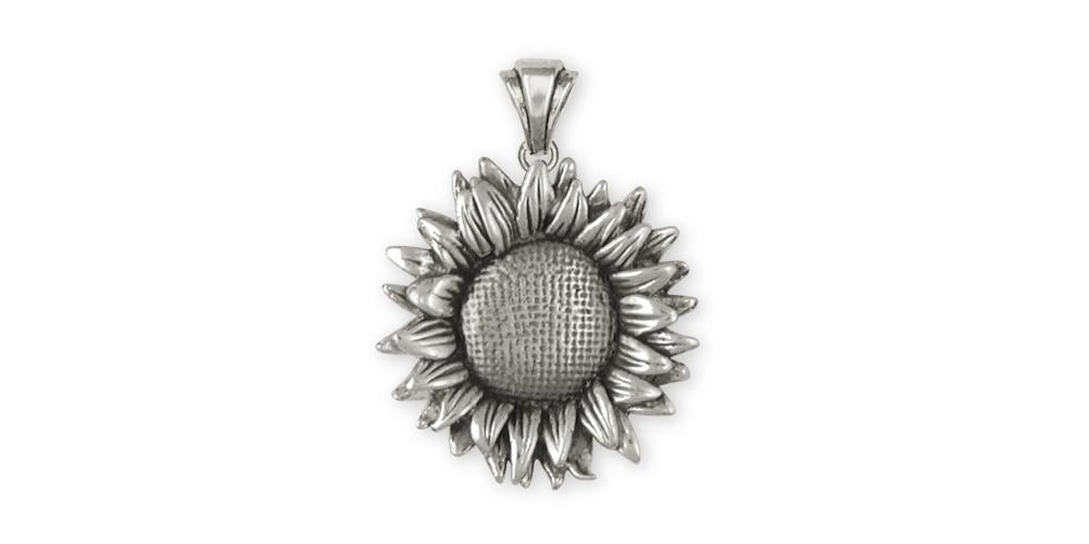 Sunflower flower pendant sterling silver esquivel and fees sunflower charms sunflower pendant sterling silver flower jewelry sunflower jewelry aloadofball Choice Image
