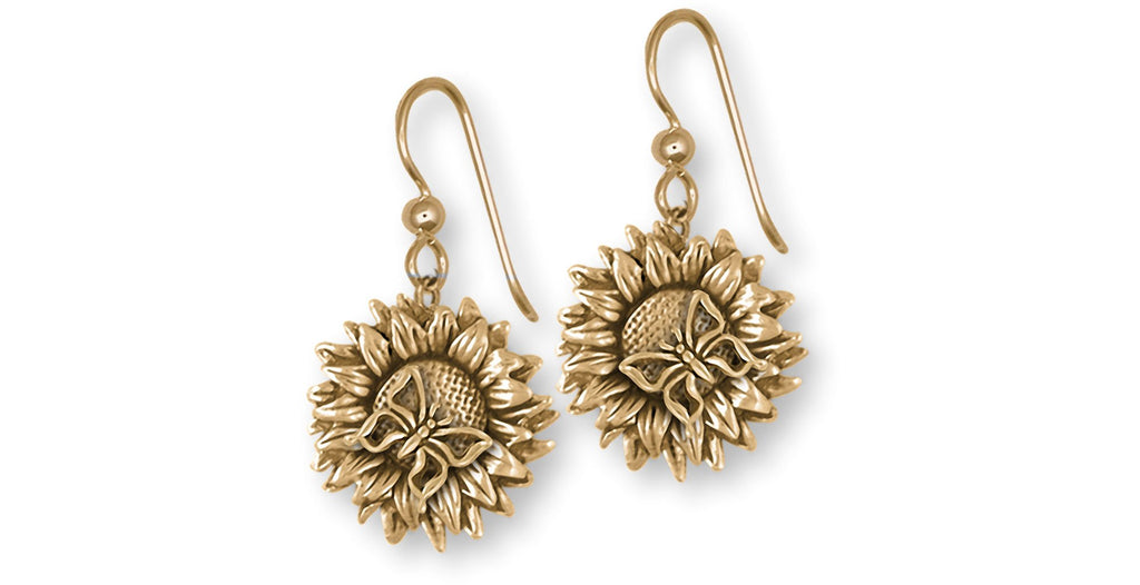 Sunflower Charms Sunflower Earrings 14k Yellow Gold Sunflower With Butterfly Jewelry Sunflower jewelry