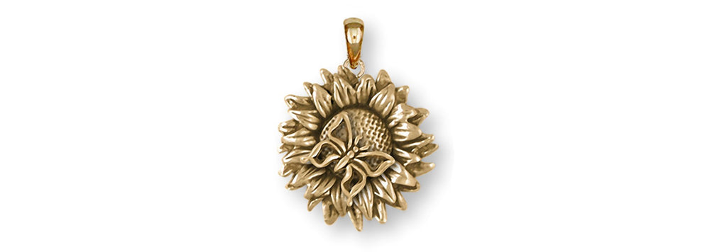 Sunflower Charms Sunflower Pendant 14k Yellow Gold Sunflower With Butterfly Jewelry Sunflower jewelry