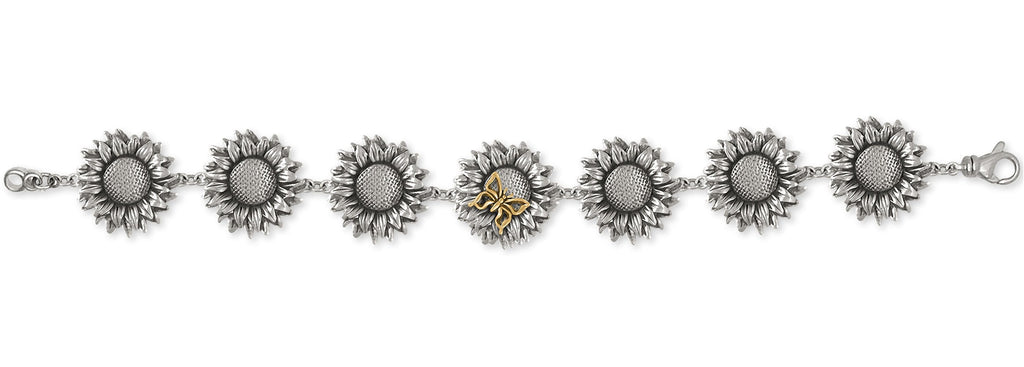 Sunflower Charms Sunflower Bracelet Silver And 14k Gold Flower Jewelry Sunflower jewelry