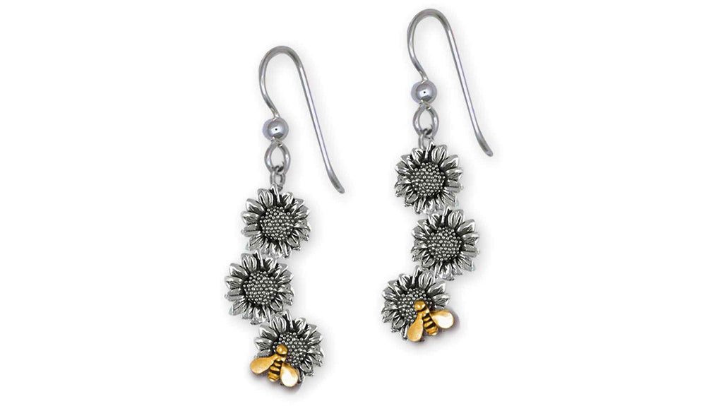 Sunflower Charms Sunflower Earrings Silver And 14k Gold Sunflower Jewelry Sunflower jewelry