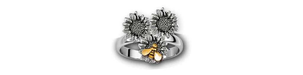 Sunflower Charms Sunflower Ring Silver And 14k Gold Sunflower Jewelry Sunflower jewelry