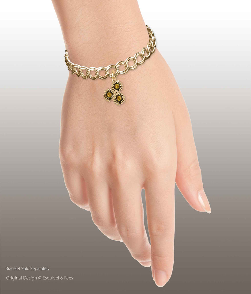 Sunflower Jewelry 14k Yellow Gold Handmade Sunflower With Crystal Charm  SFTX12XS-3CG