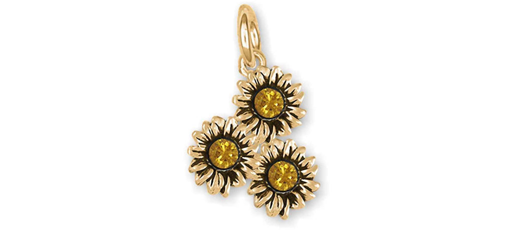 Sunflower Charms Sunflower Charm 14k Yellow Gold Sunflower With Crystal Jewelry Sunflower jewelry