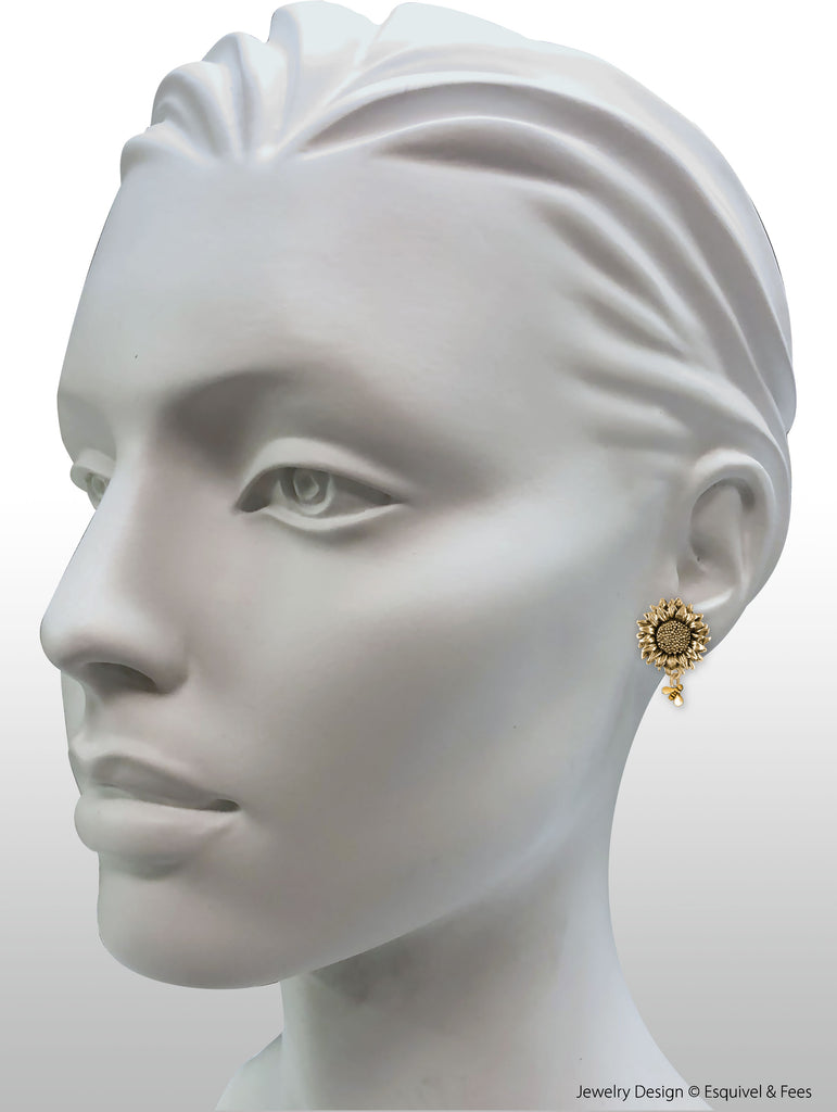 Sunflower Jewelry 14k Gold Vermeil Handmade Sunflower With Gold Bees Earrings  SFTX3-BEEEVM