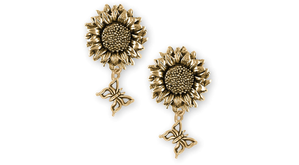 Sunflower Charms Sunflower Earrings 14k Gold Vermeil Sunflower With Butterfly Jewelry Sunflower jewelry