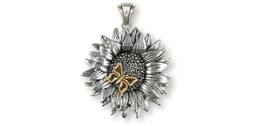 Sunflower Charms Sunflower Pendant Silver And 14k Gold Sunflower With Butterfly Jewelry Sunflower jewelry
