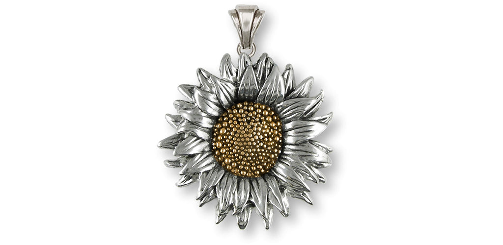 Sunflower Charms Sunflower Pendant Silver And 14k Yellow Gold Sunflower Jewelry Sunflower jewelry