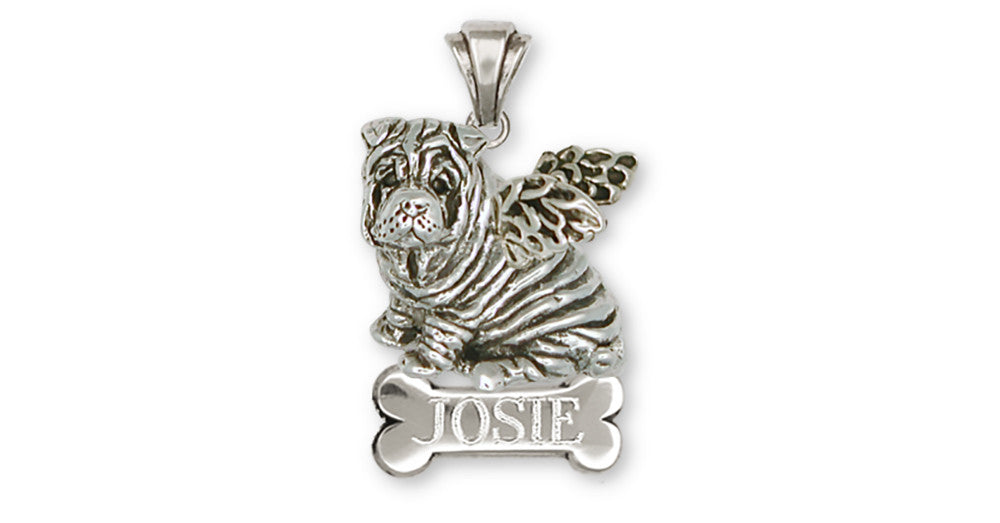 Shar Pei Angel Charms Shar Pei Angel Personalized Pendant Sterling Silver Dog Jewelry Shar Pei Angel jewelry