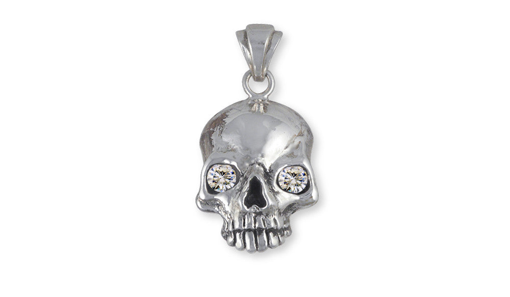 Skull Charms Skull Pendant Sterling Silver With Cz Eyes Skull Jewelry Skull jewelry