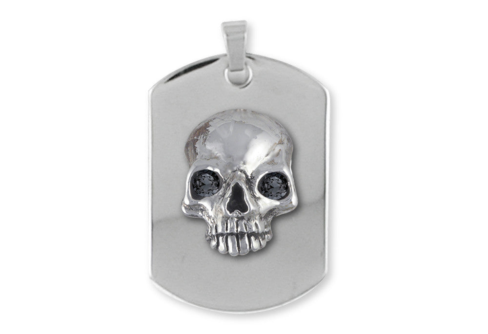 Skull Dog Tag Charms Skull Dog Tag Pendant Sterling Silver Skull Jewelry Skull Dog Tag jewelry