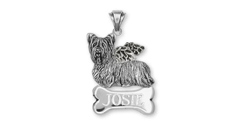 Skye Terrier Angel Charms Skye Terrier Angel Personalized Pendant Sterling Silver Dog Jewelry Skye Terrier Angel jewelry