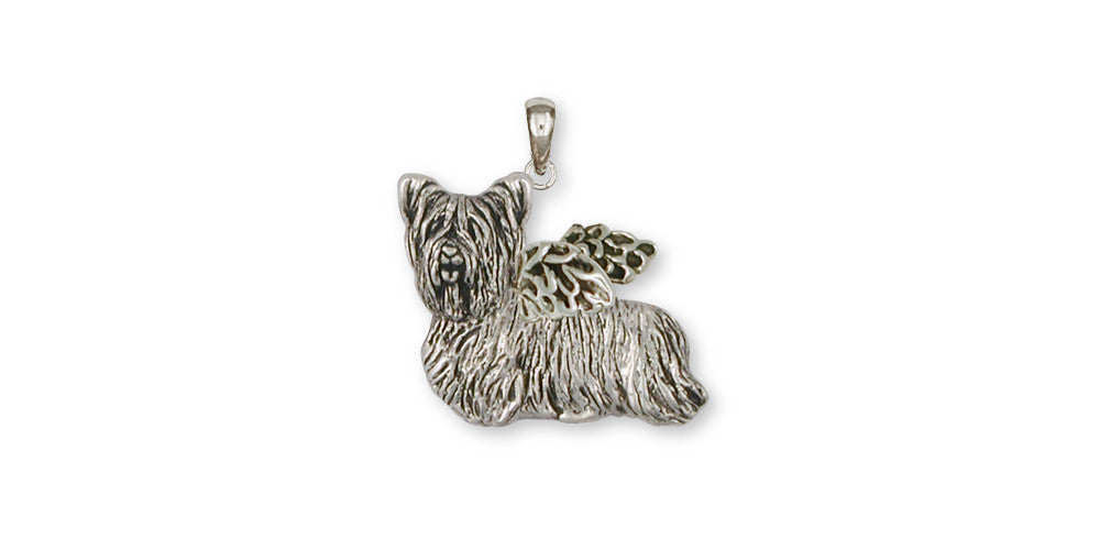 Skye Terrier Angel Charms Skye Terrier Angel Pendant Sterling Silver Dog Jewelry Skye Terrier Angel jewelry