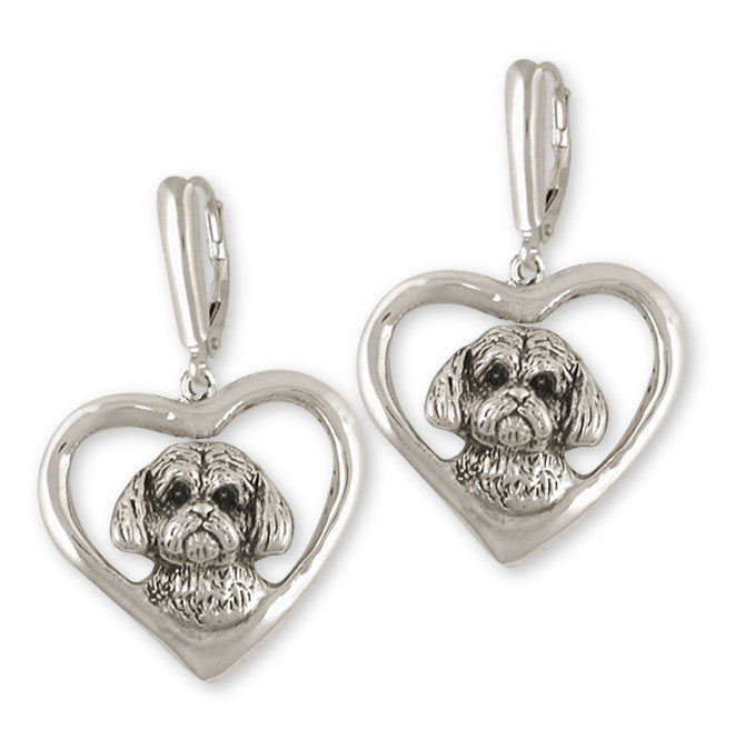 Shih Tzu Earrings Handmade Silver Shih Tzu Jewelry SLSZ7-E