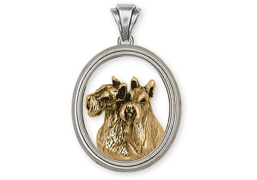 Double Schnauzer Charms Double Schnauzer Pendant Silver And 14k Gold Schnauzer Jewelry Double Schnauzer jewelry