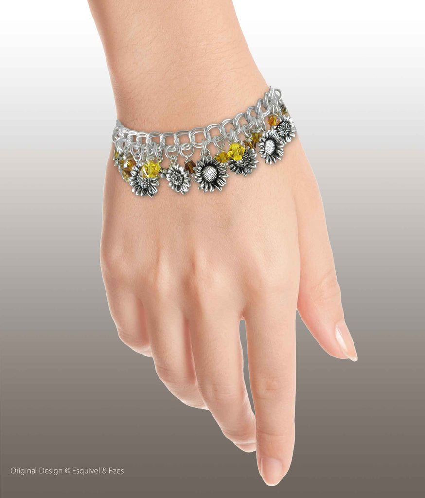 Sunflower Jewelry Sterling Silver Handmade Sunflower And Austrian Crystal Statement Bracelet  SUN-BR1