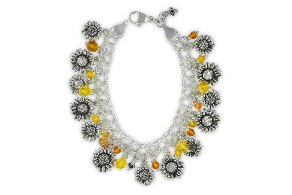 Sunflower Charms Sunflower Bracelet Sterling Silver Sunflower And Austrian Crystal Statement Jewelry Sunflower jewelry