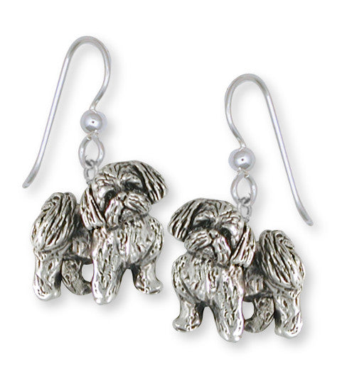 Shih Tzu Earrings Handmade Silver Shih Tzu Jewelry SZ21-E
