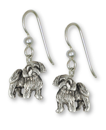 Shih Tzu Earrings Handmade Sterling Silver Jewelry SZ27-FW