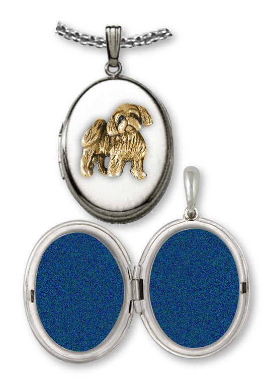 Shih Tzu Photo Locket Sterling Silver And Gold Jewelry SZ27-VT