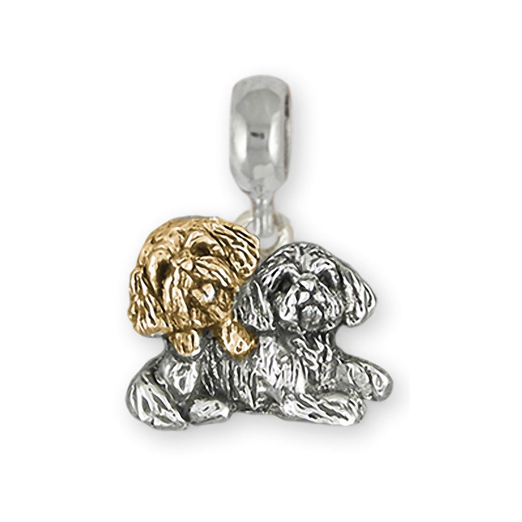Shih Tzu Charms Shih Tzu Charm Slide Silver And 14k Gold Double Shih Tzu Jewelry Shih Tzu jewelry