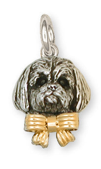 Shih Tzu Charm Silver And 14k Gold Shih Tzu Jewelry SZ4W-C