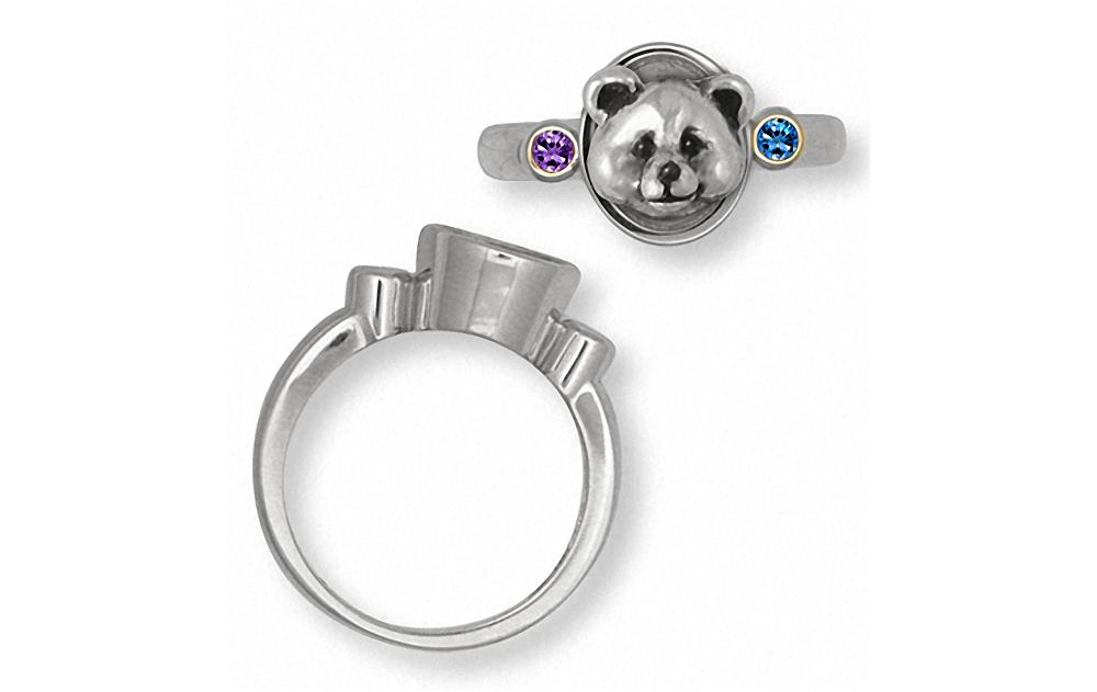 Panda Bear Charms Panda Bear Ring Silver And Gold Panda Bear Jewelry Panda Bear jewelry