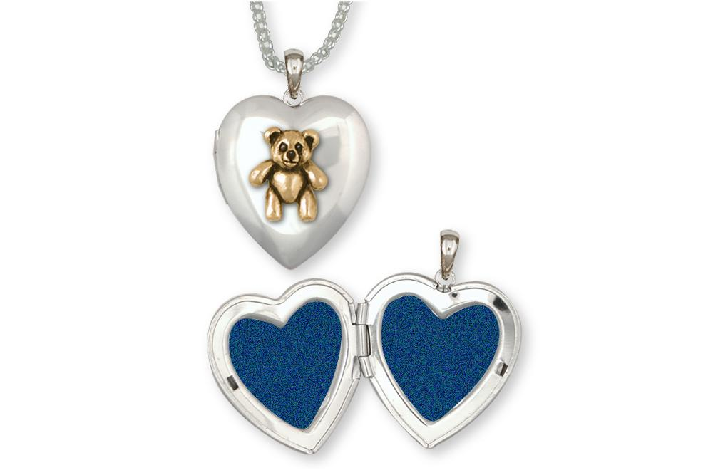 Teddy Bear Charms Teddy Bear Photo Locket Silver And Gold Teddy Bear Jewelry Teddy Bear jewelry