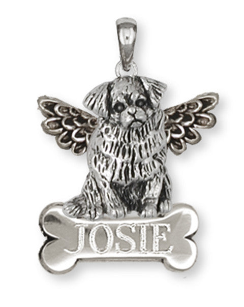 Tibetan Spaniel Angel Charms Tibetan Spaniel Angel Personalized Pendant Handmade Sterling Silver Dog Jewelry Tibetan Spaniel Angel jewelry