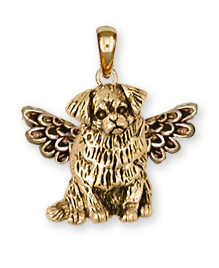 Tibetan Spaniel Angel Charms Tibetan Spaniel Angel Pendant 14k Yellow Gold Vermeil Dog Jewelry Tibetan Spaniel Angel jewelry