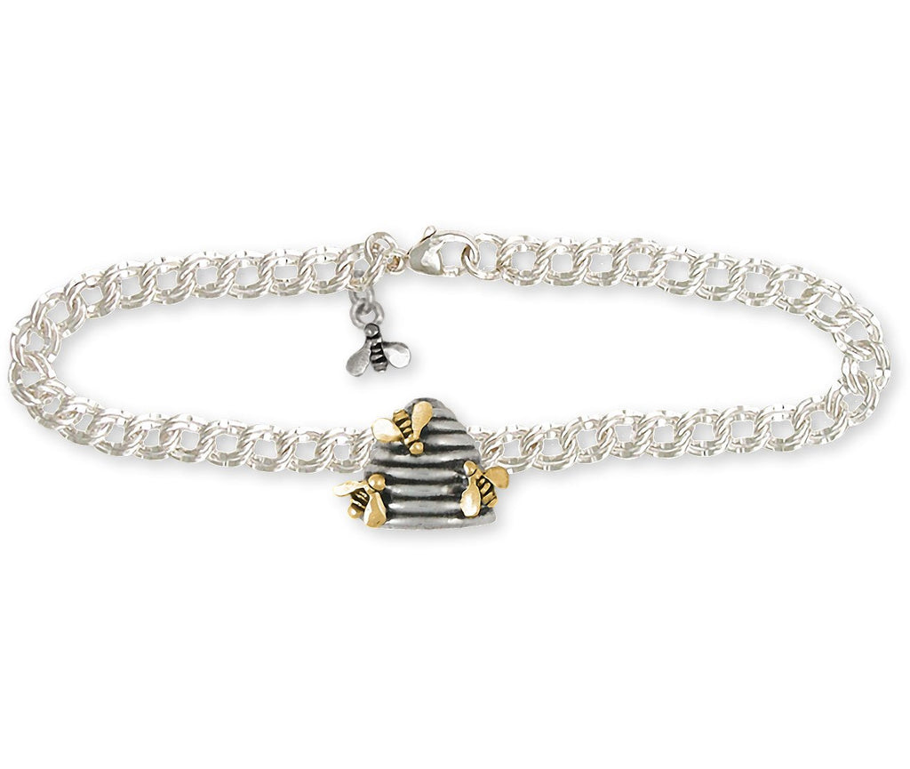 Honey Bee Charms Honey Bee Bracelet Silver And 14k Gold Honeybee Jewelry Honey Bee jewelry