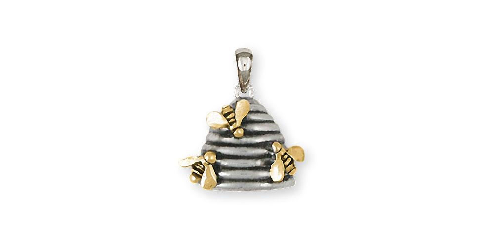 Honey Bee Charms Honey Bee Pendant Silver And 14k Gold Honeybee Jewelry Honey Bee jewelry