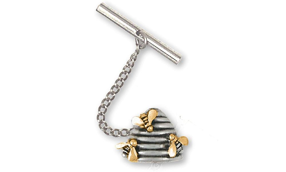 Honey Bee Charms Honey Bee Tie Tack Silver And 14k Gold Honeybee Jewelry Honey Bee jewelry