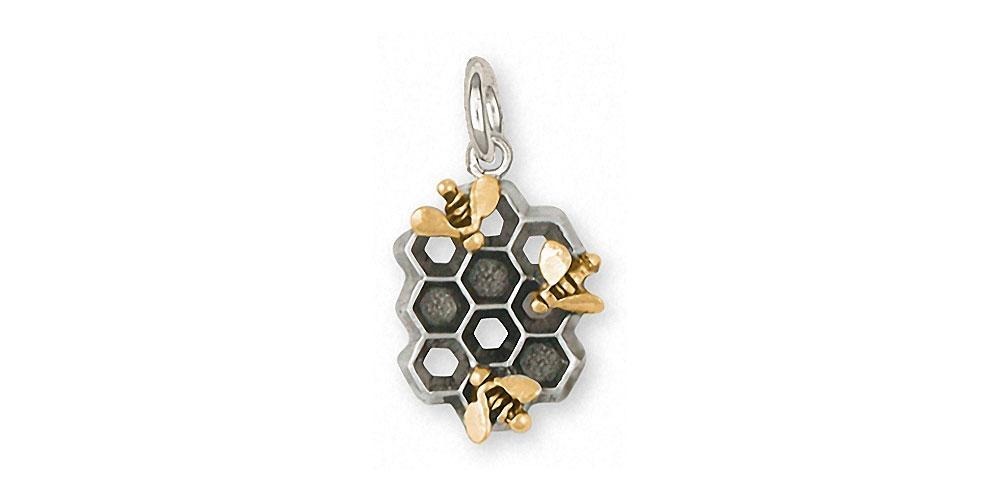 Honey Bee Charms Honey Bee Charm Silver And 14k Gold Honeybee Jewelry Honey Bee jewelry