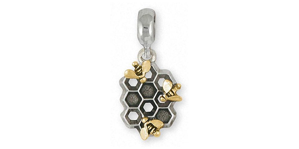 Honey Bee Charms Honey Bee Charm Slide Silver And 14k Gold Honeybee Jewelry Honey Bee jewelry