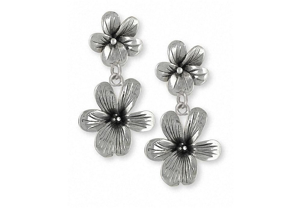 Double Violet Charms Double Violet Earrings Sterling Silver Flower Jewelry Double Violet jewelry