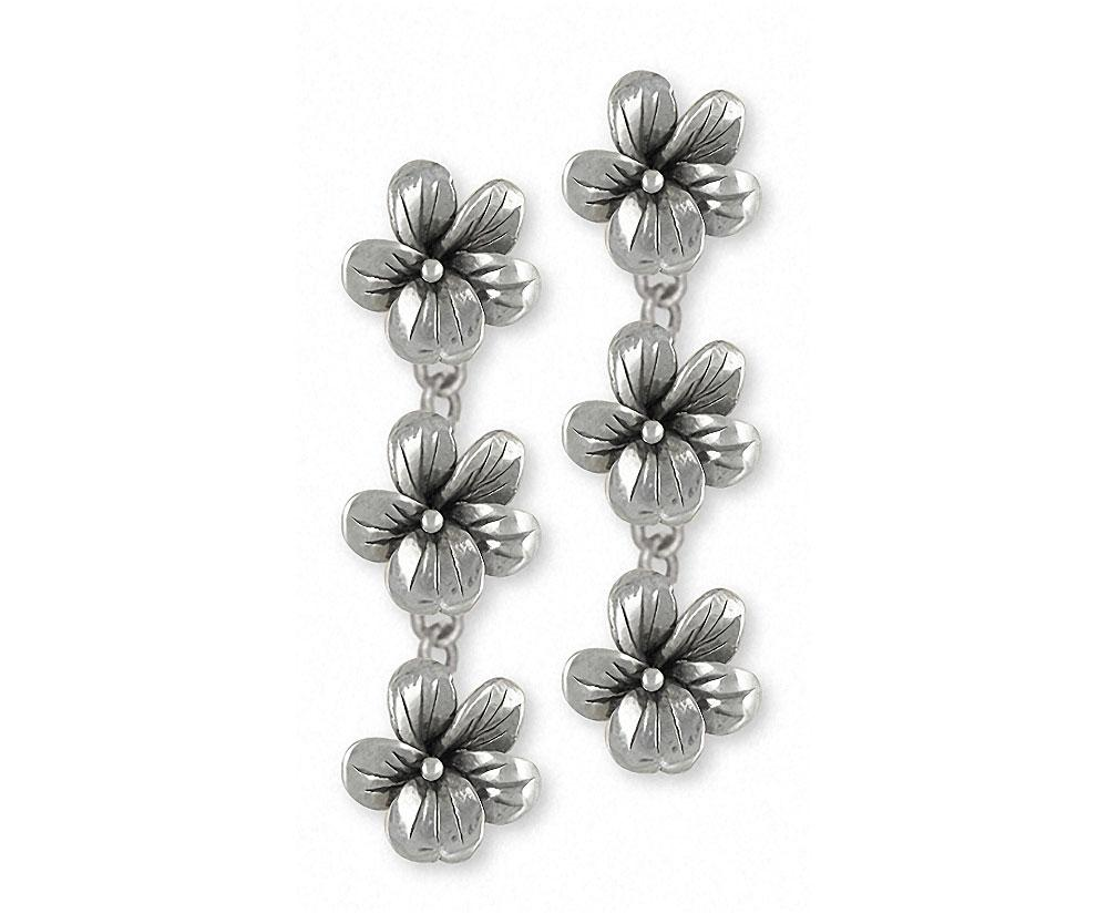 Triple Violet Charms Triple Violet Earrings Sterling Silver Flower Jewelry Triple Violet jewelry