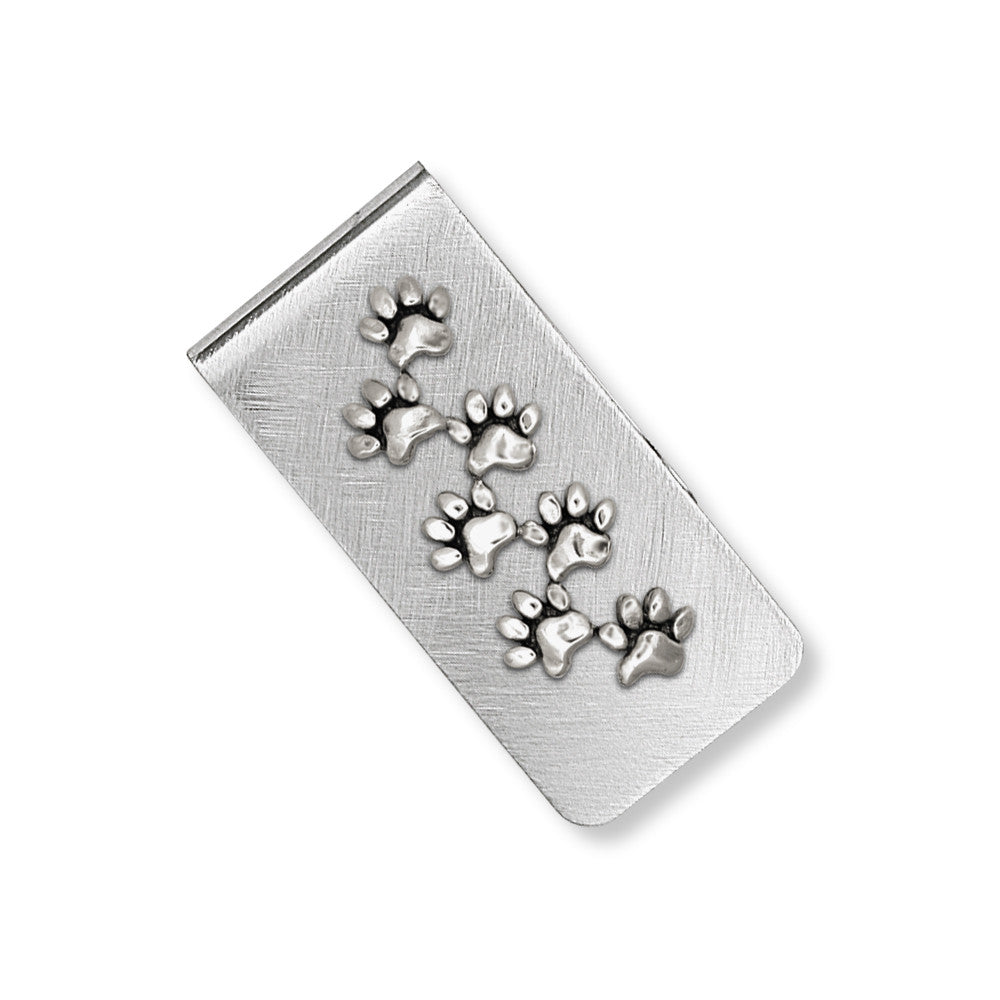 Dog Paw Charms Dog Paw Money Clip Sterling Silver Dog Jewelry Dog Paw jewelry