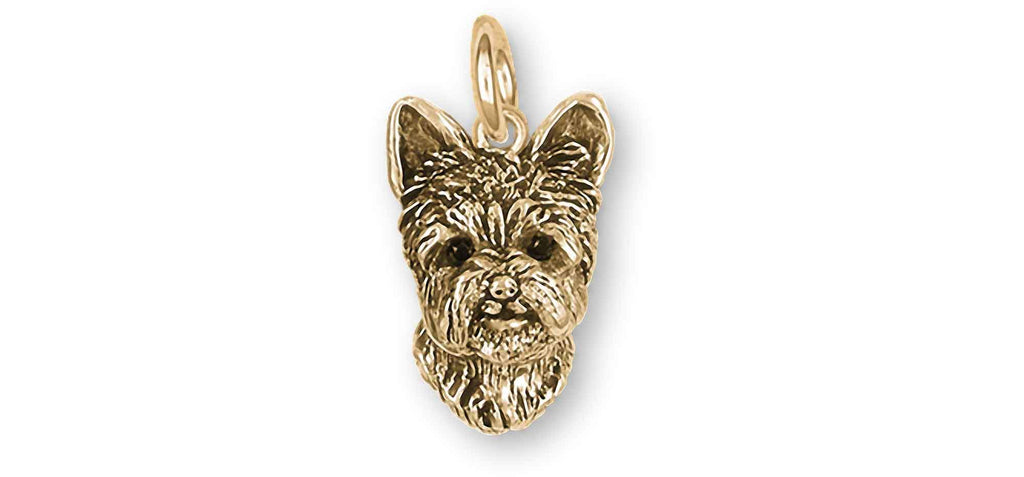 Yorkshire Terrier Charms Yorkshire Terrier Charm With Black Diamond Eyes 14k Yellow Gold Yorkie Jewelry Yorkshire Terrier jewelry