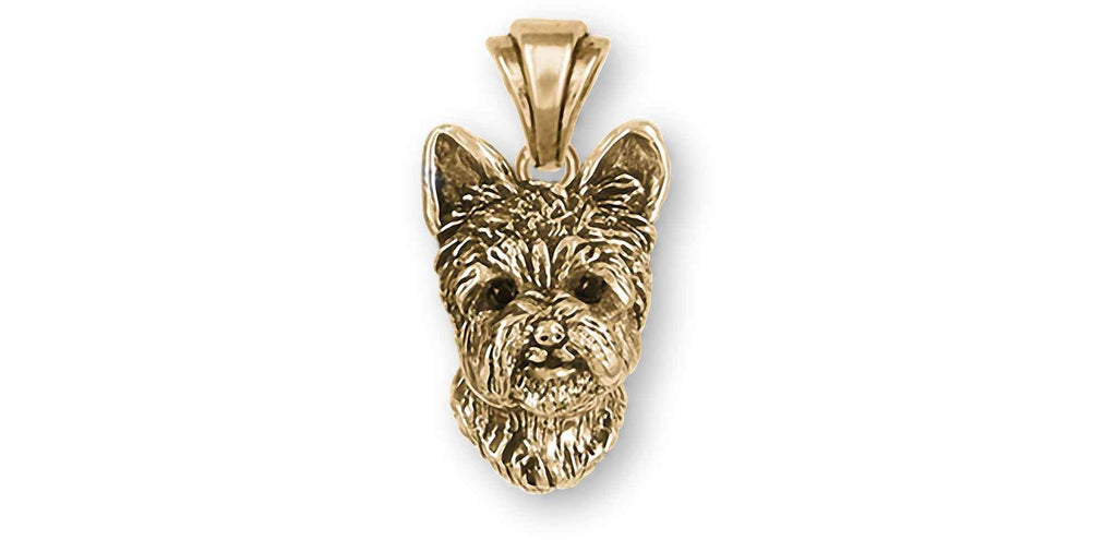 Yorkshire Terrier Charms Yorkshire Terrier Pendant 14k Yellow Gold With Black Diamond Eyes Yorkie Jewelry Yorkshire Terrier jewelry