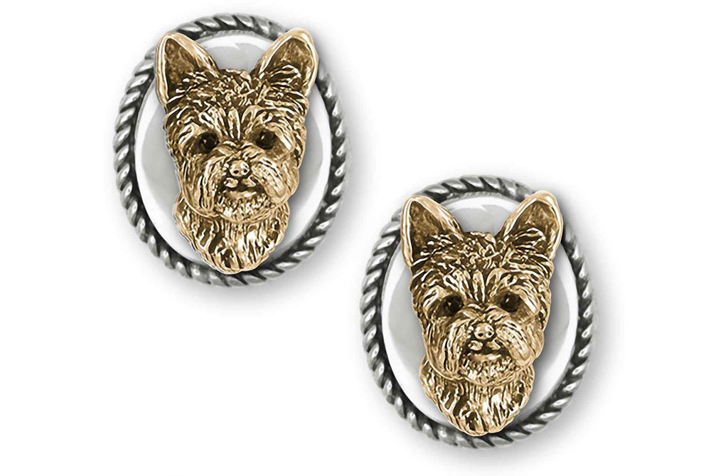Yorkshire Terrier Charms Yorkshire Terrier Cufflinks Silver And 14k Gold With Black Diamond Eyes Yorkie Jewelry Yorkshire Terrier jewelry