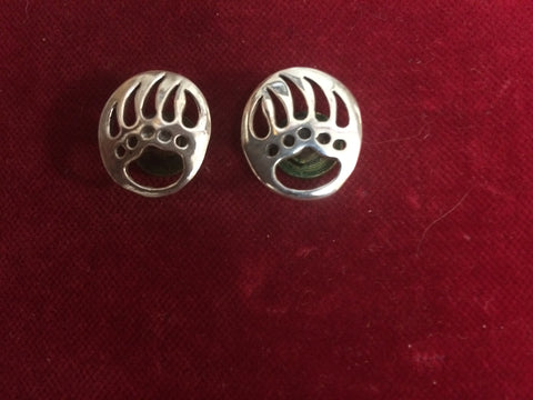 Conchos: Pair Sterling Bear Paws, right & left, flush mount post and screw