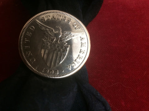 Scarf Slide: Phillipine Dollar, 90% Silver 1908, U.S. Made at one time.