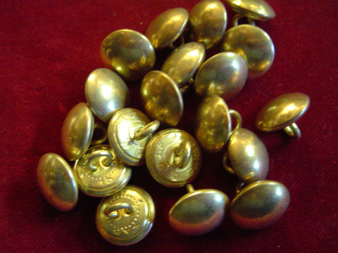 Buttons: Plain Brass Military 15 mm, 1/2""