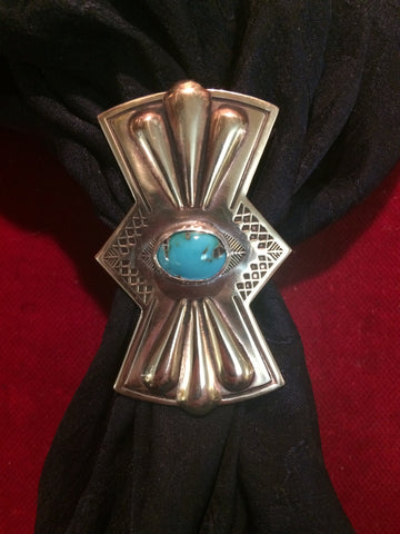 Scarf Slide: Brass Butterfly with Turquoise stone.